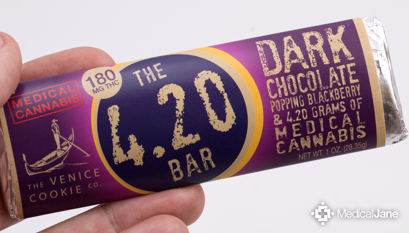 Dark Chocolate + Blackberry Popping Candy 4.20 Bar from The Venice Cookie Co.