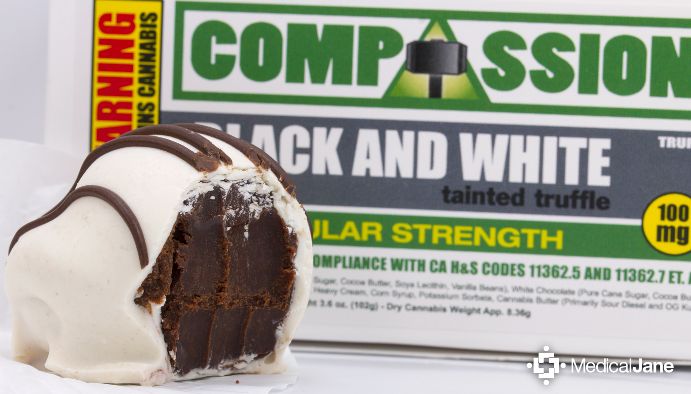 Black and White Tainted Truffles from Compassion Edibles